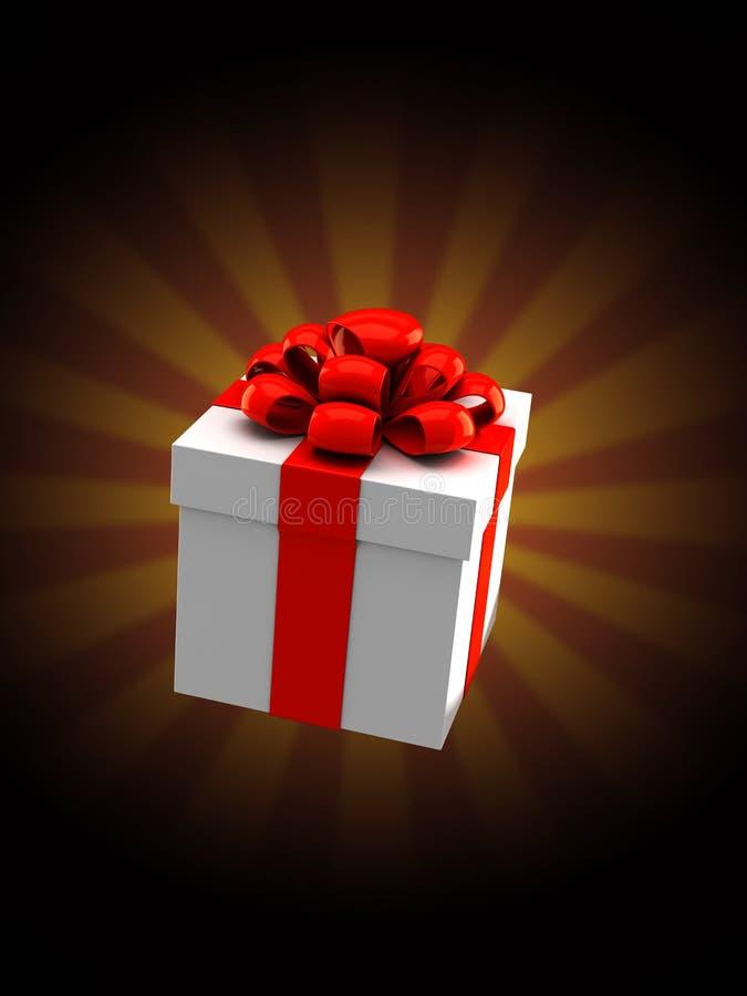 Подарочная коробка на предпосылке лучей иллюстрация вектора