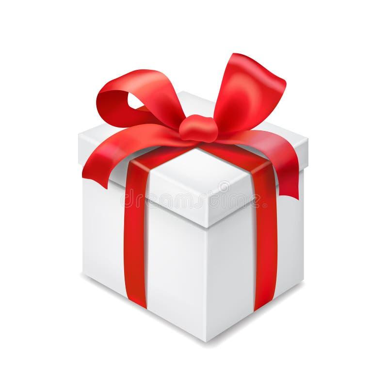 Подарочная коробка при красный смычок ленты изолированный на прозрачной предпосылке иллюстрация вектора