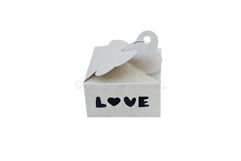 Подарочная коробка с алфавитом, любовью стоковое изображение