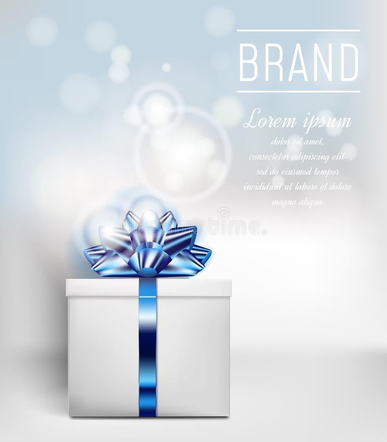 Подарочная коробка с голубой лентой и смычок на предпосылке цвета с влиянием bokeh иллюстрация вектора