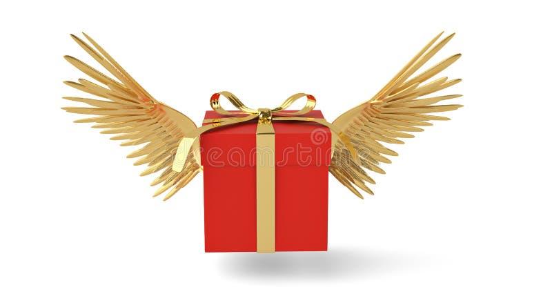 Подарочная коробка с золотом подгоняет коробку летания иллюстрация 3d иллюстрация вектора