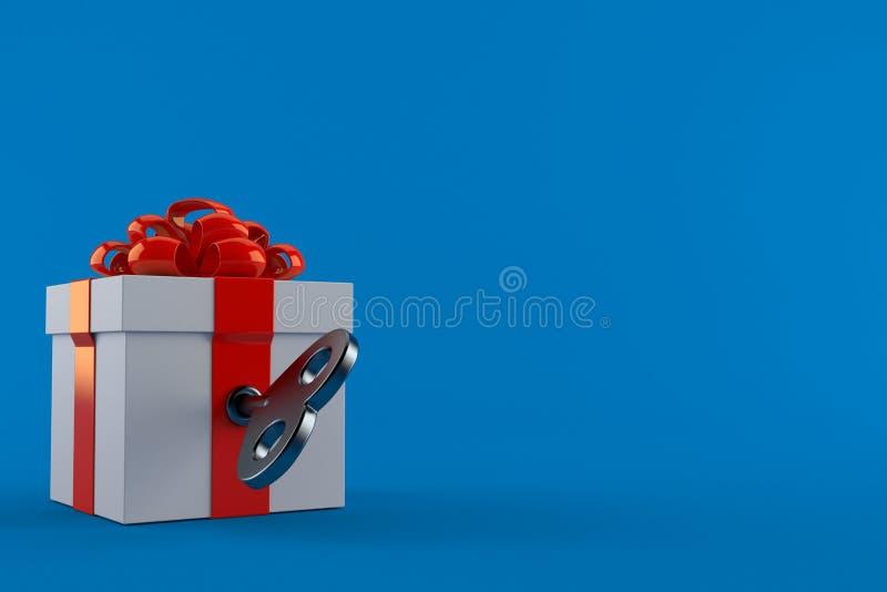 Подарочная коробка с ключом clockwork иллюстрация вектора