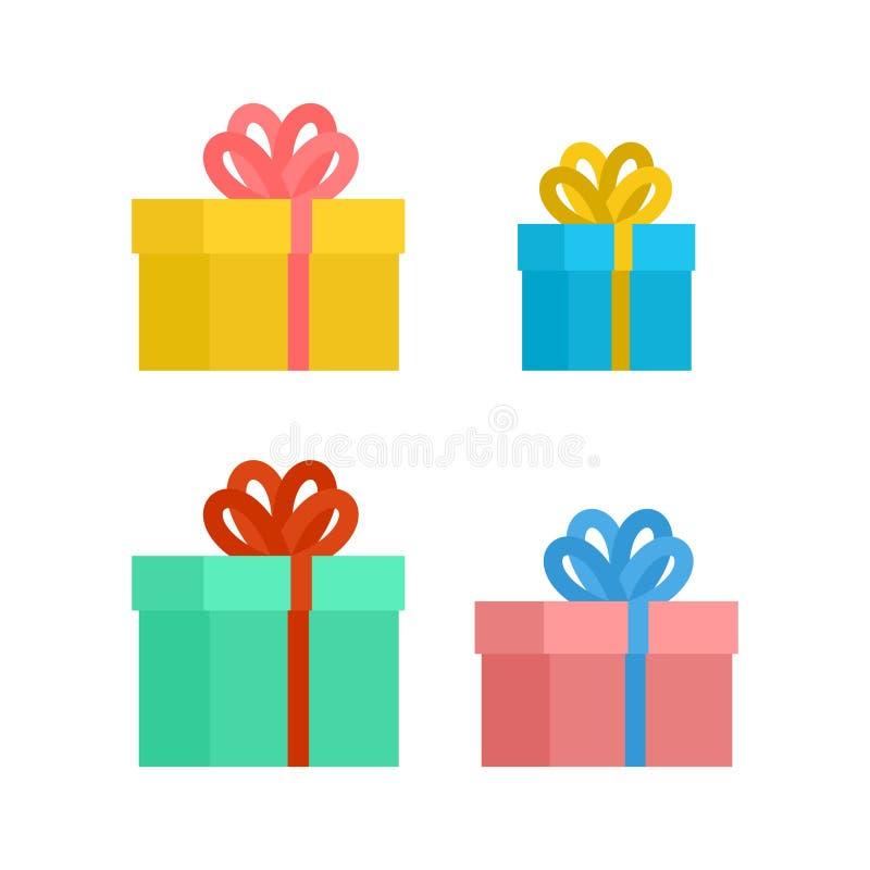 Подарочная коробка с комплектом смычка Рождество и подарок на день рождения Вектор il иллюстрация вектора