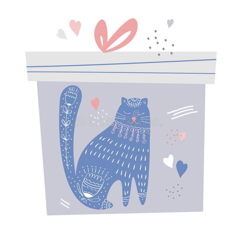 Подарочная коробка с милыми котом и украшением Handdrawn иллюстрация штока