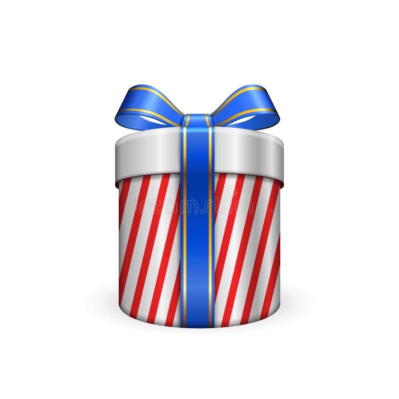 Подарочная коробка 3d, смычок голубой ленты изолировала белую предпосылку Подарочная коробка украшения присутствующая серебряная  иллюстрация штока