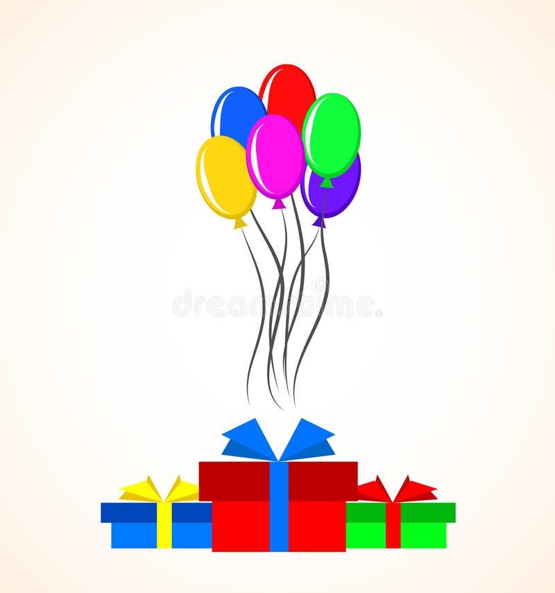 Подарочные коробки и красочные воздушные шары над белой предпосылкой цветасто иллюстрация штока