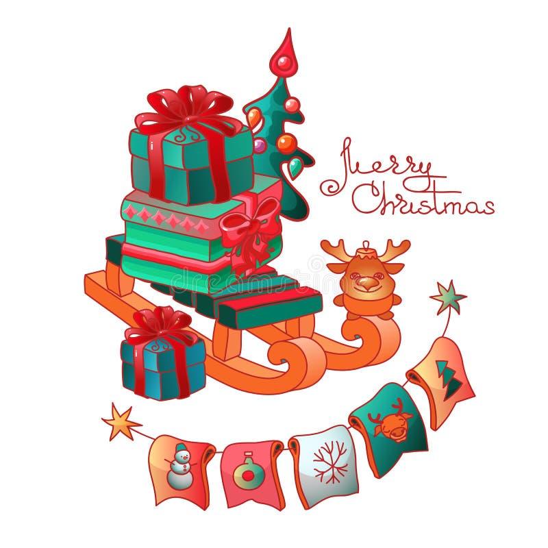Подарочные коробки на скелетоне и игрушках рождества вектор бесплатная иллюстрация