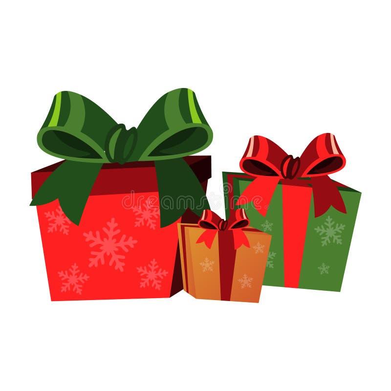 Подарочные коробки рождества на белой предпосылке иллюстрация штока