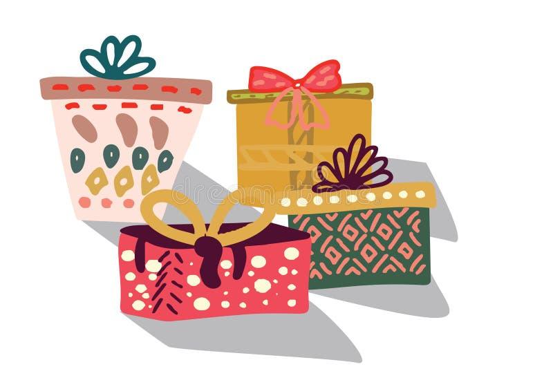 Подарочные коробки с лентой иллюстрация вектора