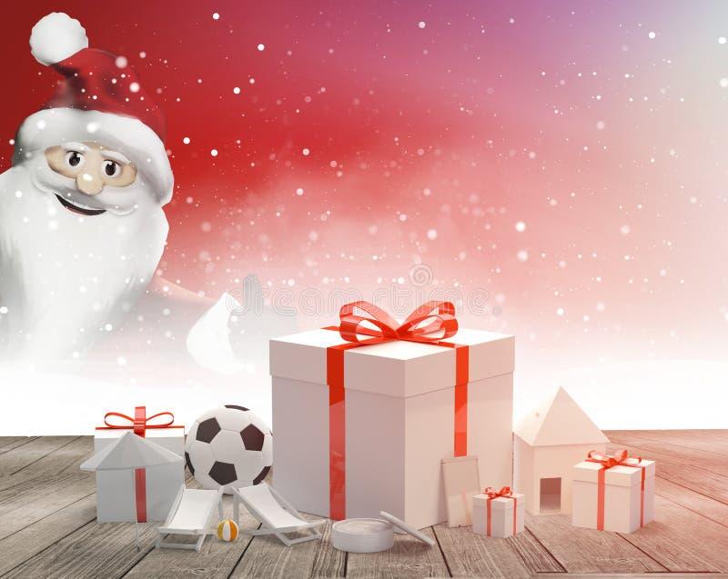 Подарочные коробки с смычком с переводом Санта Клауса 3d иллюстрация штока