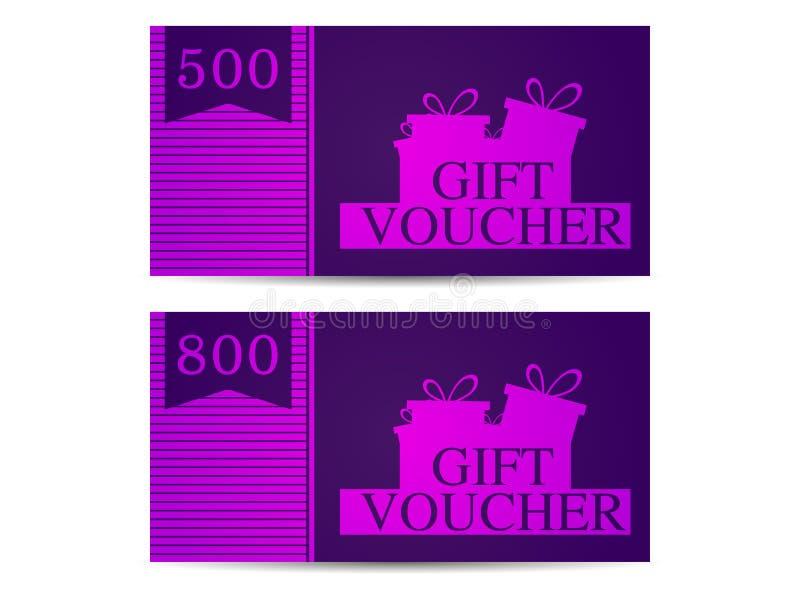 Подарочный сертификат с подарочными коробками в количестве 500 и 800 пурпурово вектор иллюстрация вектора