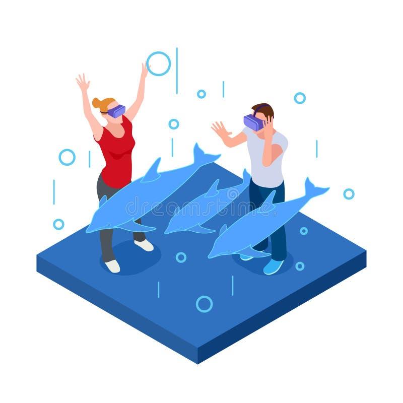Подводная виртуальная реальность, счастливый человек и женщина в стеклах VR с иллюстрацией вектора дельфинов равновеликой иллюстрация штока