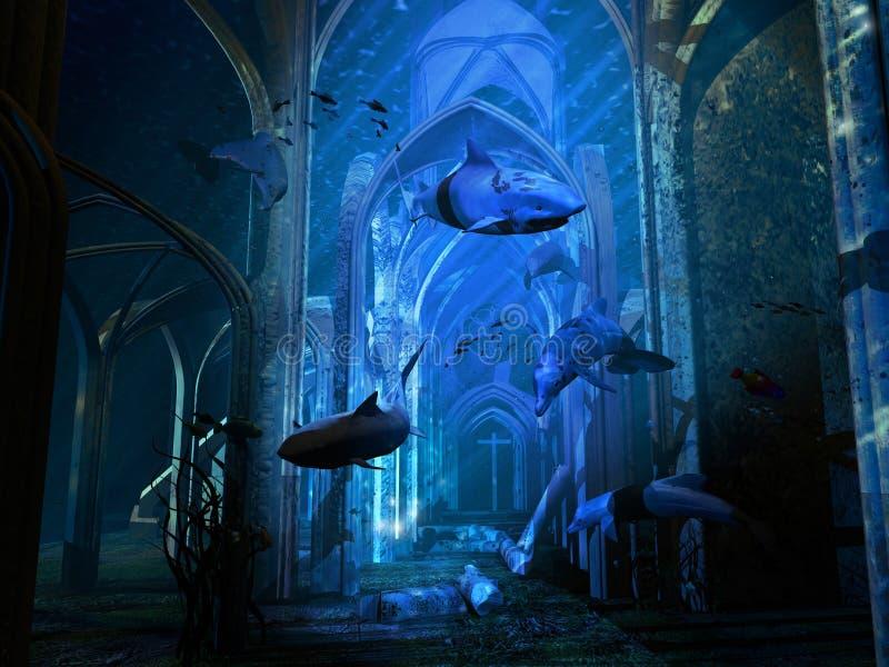подводная лодка разрушенная собором иллюстрация вектора