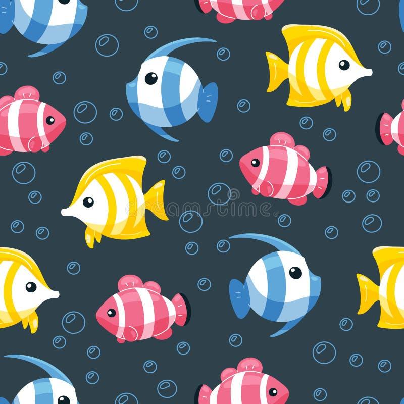 Картина красочных рыб безшовная Подводная предпосылка жизни в стиле мультфильма Рыбы руки вычерченные тропические на фоне с пузыр иллюстрация вектора