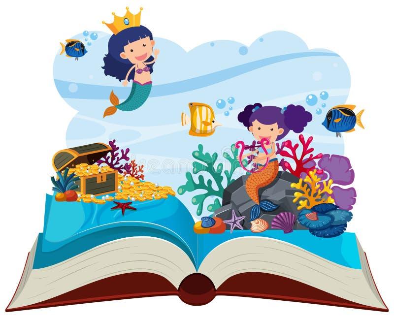 Подводная сцена с русалками хлопает вверх книга бесплатная иллюстрация
