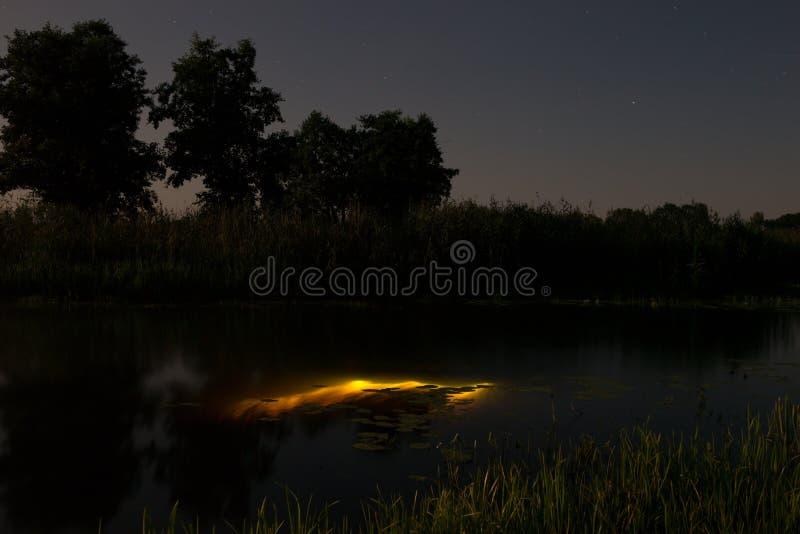 Подводное подныривание вечером с электрофонарем Свет от речного дна Полнолуние над туманным рекой Stohid Свет луны на ноче стоковая фотография