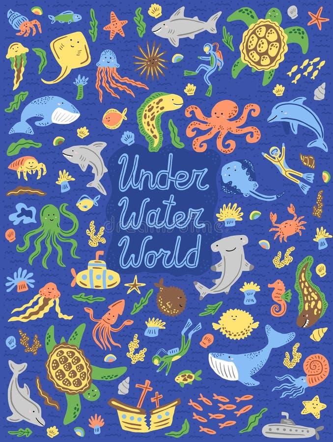 Подводное собрание мира Установите милых животных мультфильма, водолазов, подводных лодок также вектор иллюстрации притяжки corel стоковая фотография rf