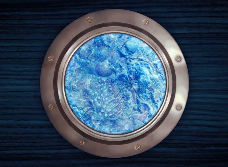 Подводные доисторические ископаемые seashell осмотренные через porth стоковое фото rf