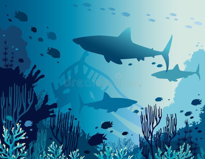 Подводные коралловый риф, рыбы, акула и море стоковая фотография rf