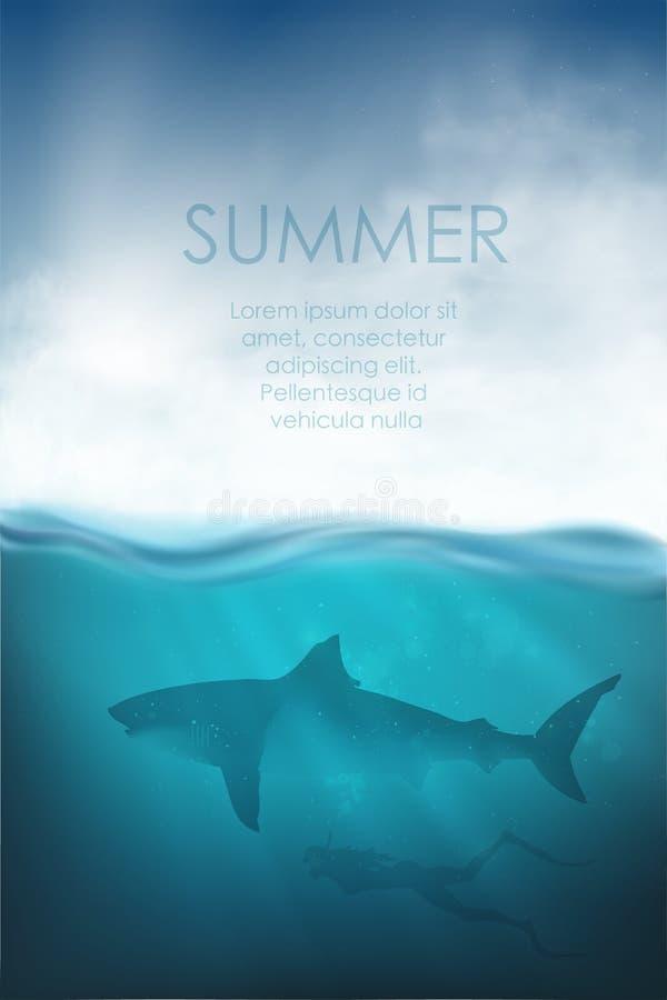 Подводный вектор с акулой, водолазом и морем бесплатная иллюстрация