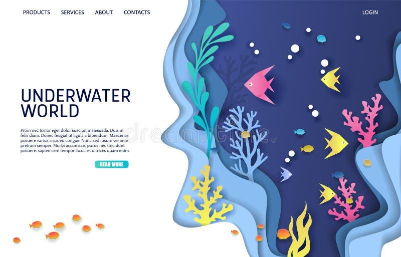 Подводный шаблон дизайна страницы посадки вебсайта вектора мира бесплатная иллюстрация