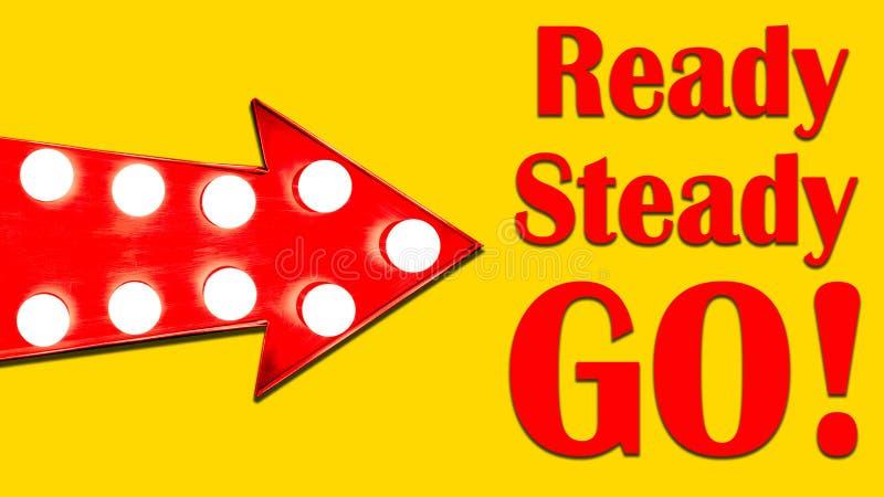 Подготавливайте, сделайте прочным, пойдите! красная стрелка сформировала винтажный красочный загоренный металлический знак направ стоковые фото