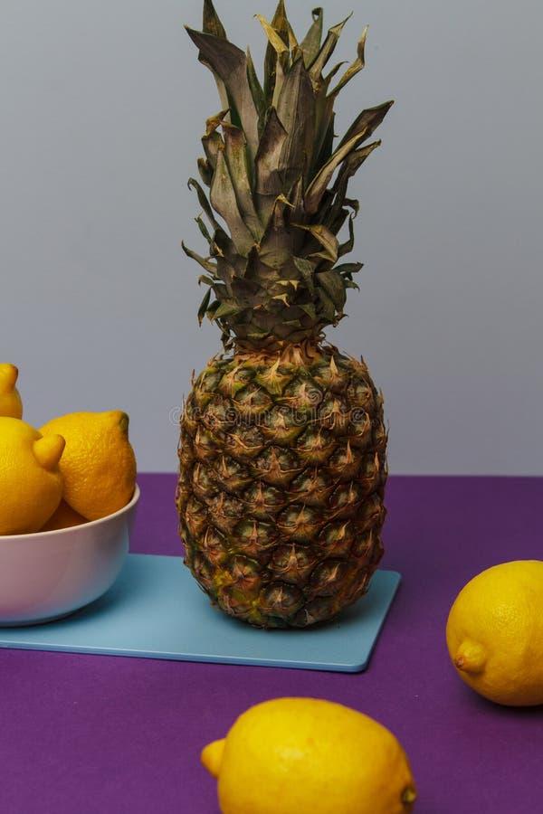 Подготавливать тропический коктеиль с ананасом стоковая фотография rf