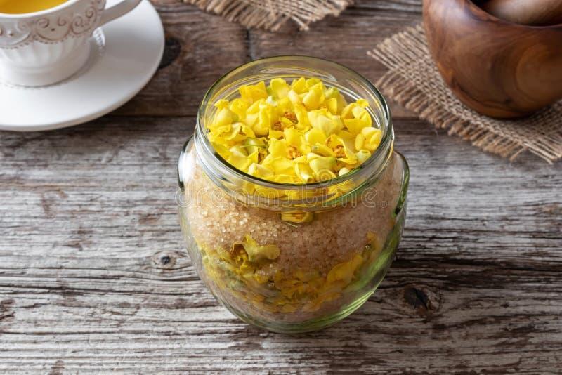 Подготовка сиропа mullein от свежих цветков verbascum стоковые фотографии rf