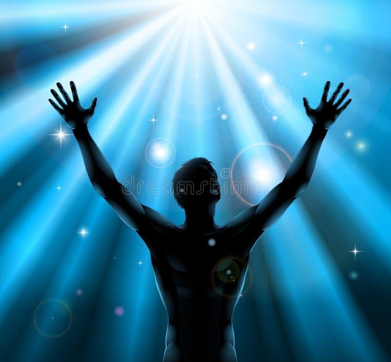 подготовляет духовность принципиальной схемы поднятую человеком вверх иллюстрация вектора