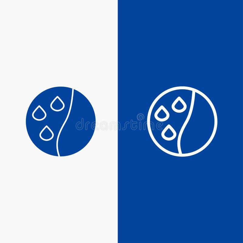 Подготовлять волос, терапия волос, значка линии и глифа знамени твердого значка линии обработки волос и глифа знамя голубого твер бесплатная иллюстрация