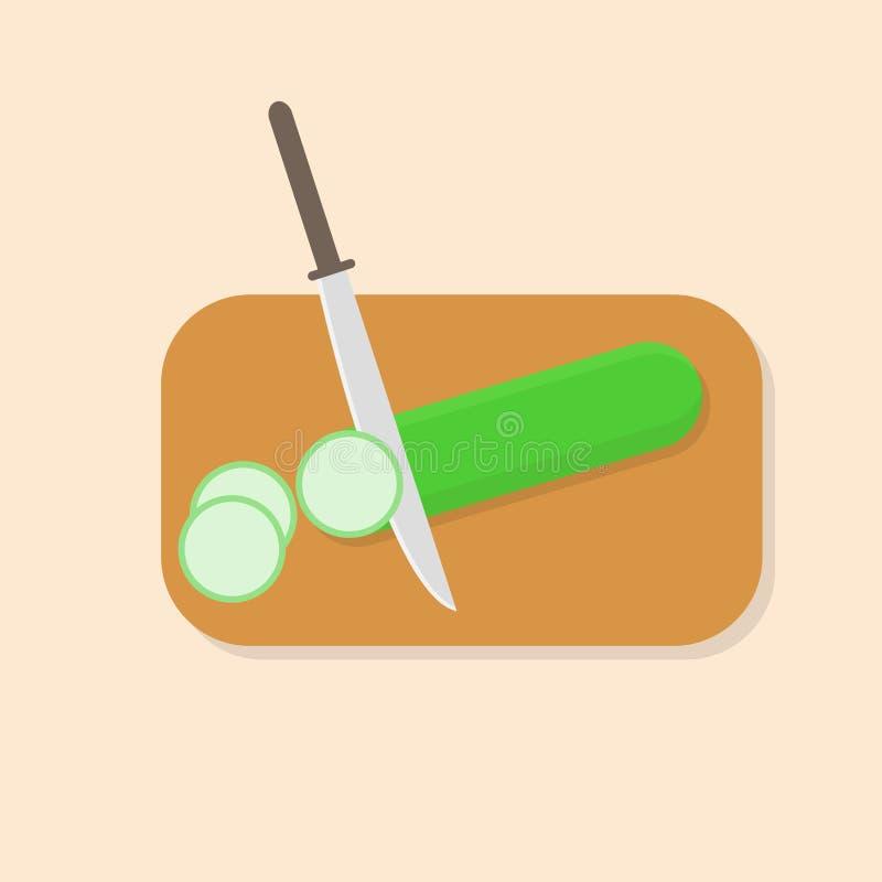 подготовлять еды огурец куска на разделочной доске и ноже иллюстрация вектора