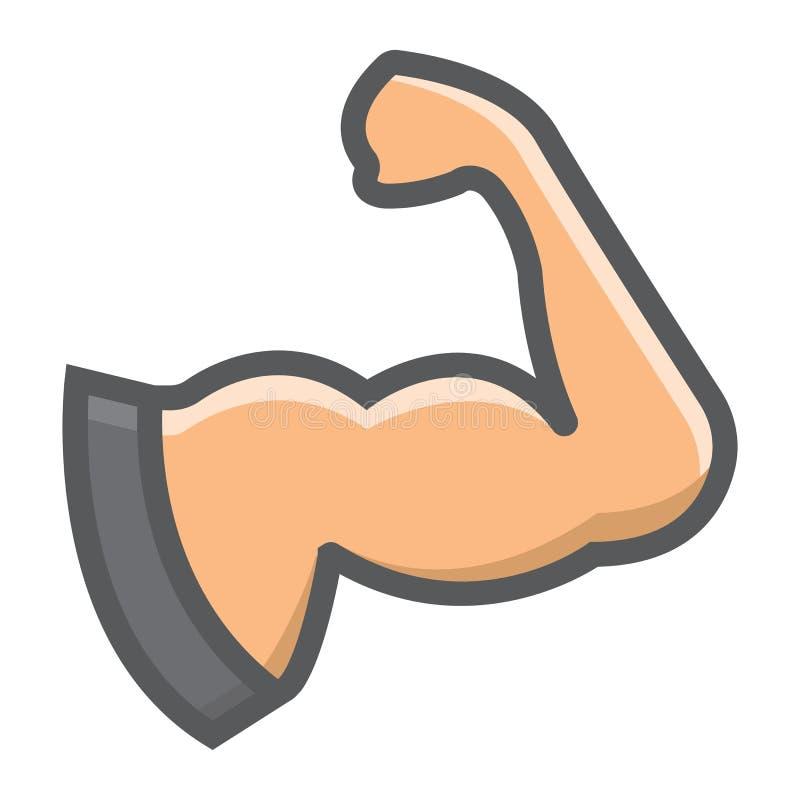 Подготовьте заполненные мышцей значок, фитнес и спорт плана иллюстрация штока