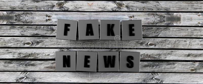 Поддельные кубы новостей отправляют SMS на деревянной предпосылке 3d для того чтобы представить иллюстрация штока