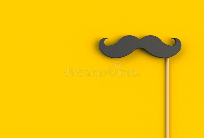 Поддельный черный усик на желтой предпосылке стоковые изображения rf