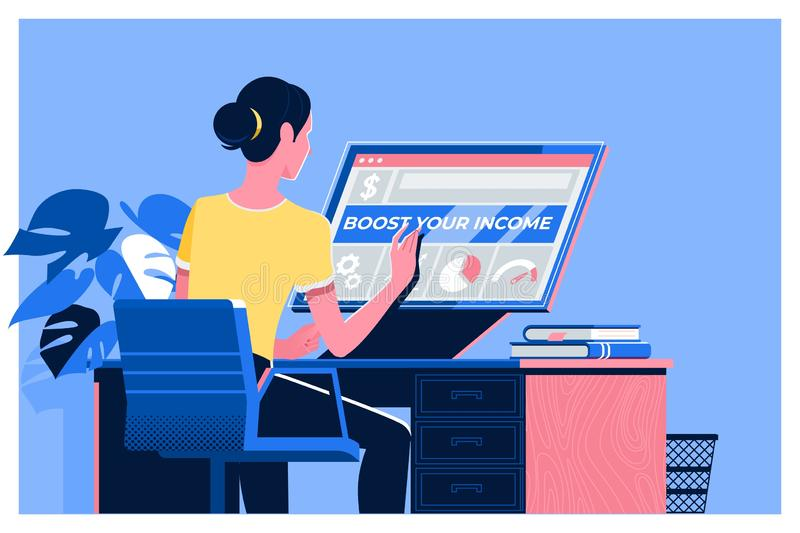 ПОДДЕРЖИТЕ ВАШЕ ДЕЛО, ПОДДЕРЖИТЕ ВАШИ ДОХОД, дело, технологию, интернет и сеть иллюстрация вектора