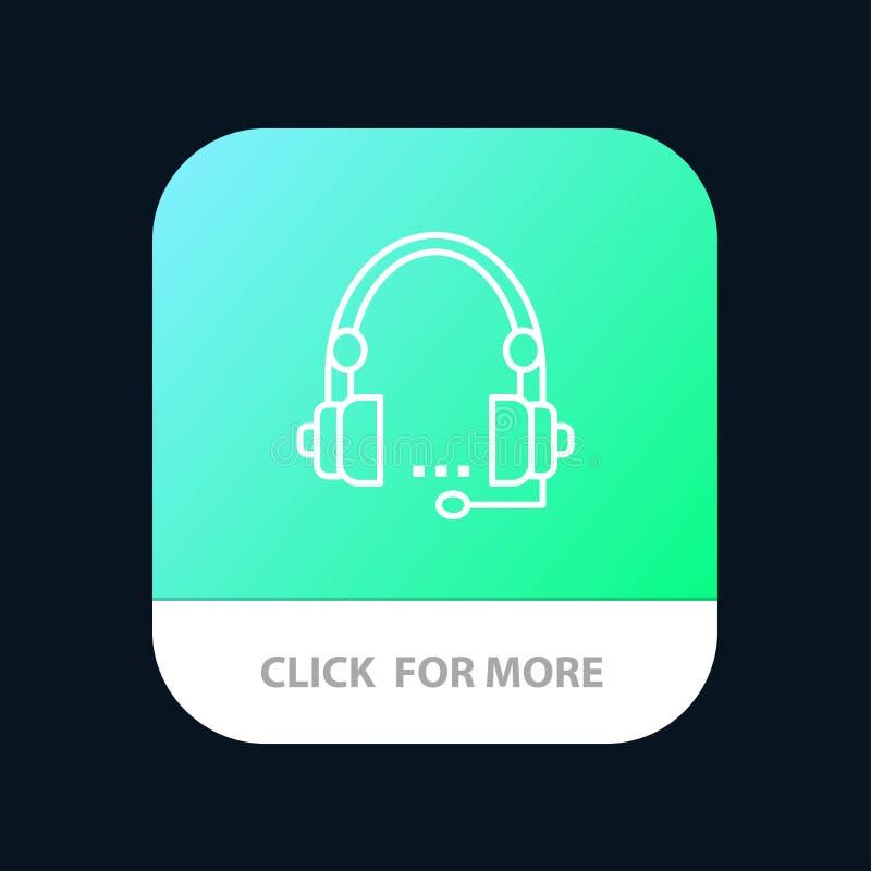 Поддержка, звонок, сообщение, контакт, шлемофон, помощь, кнопка приложения обслуживания мобильная Андроид и линия версия IOS иллюстрация штока