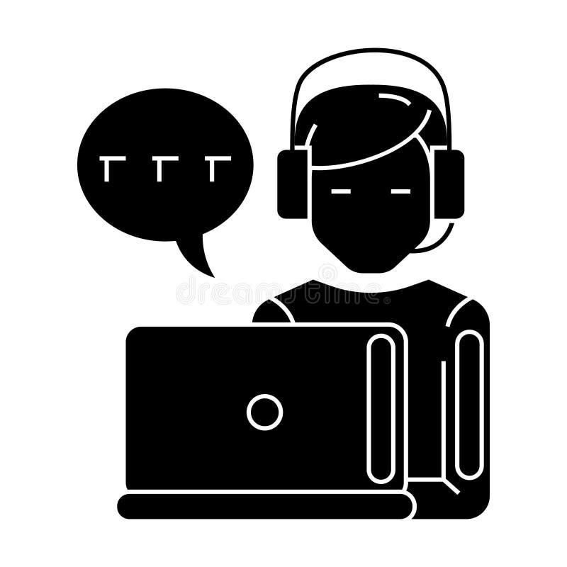 Поддержка - обслуживание клиента - человек с значком компьютера и шлемофона и болтовни, иллюстрацией вектора, черным знаком на из бесплатная иллюстрация