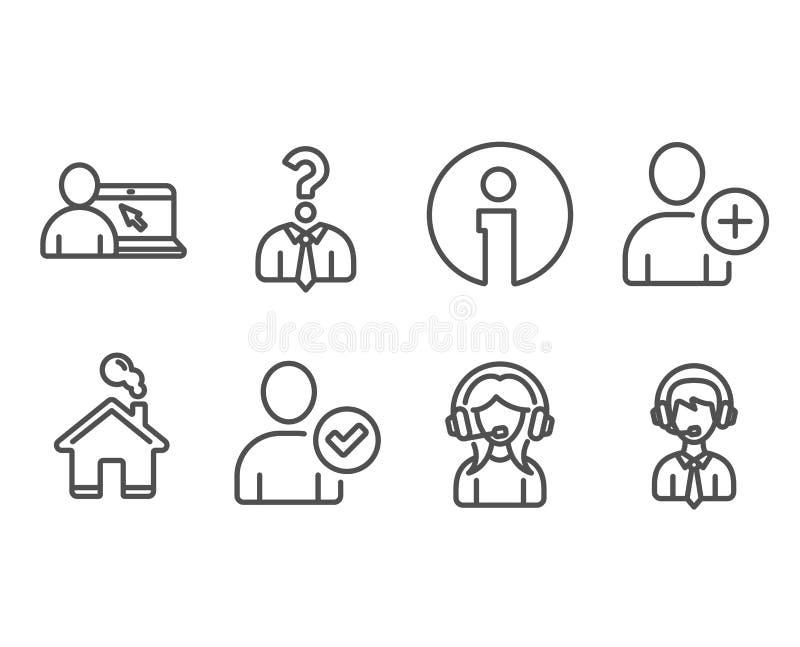 Поддержка, онлайн образование и идентичность подтвердили значки Работники рабочего места, добавляют знаки потребителя и поддержки бесплатная иллюстрация
