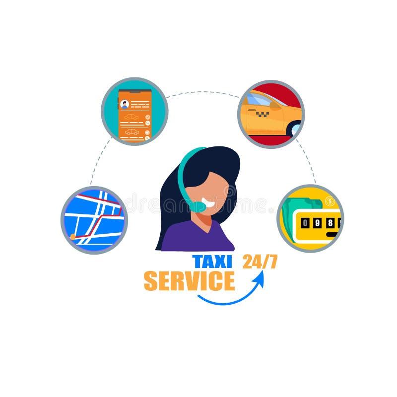 Поддержка оператора обслуживания такси Центр телефонного звонка иллюстрация вектора