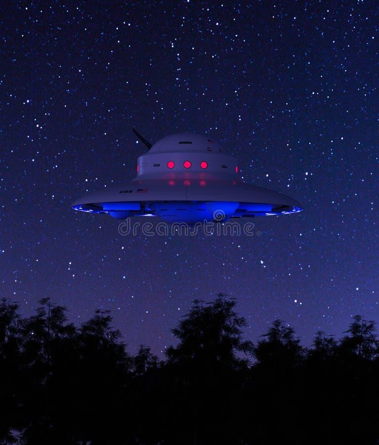 Поддонник Ufo над лесом иллюстрация вектора