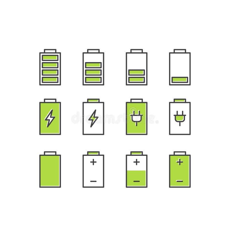 Подзарядка аккумуляторных батарей банка силы, энергосберегающий режим, электрическая экономика, изолированный объект иллюстрация штока