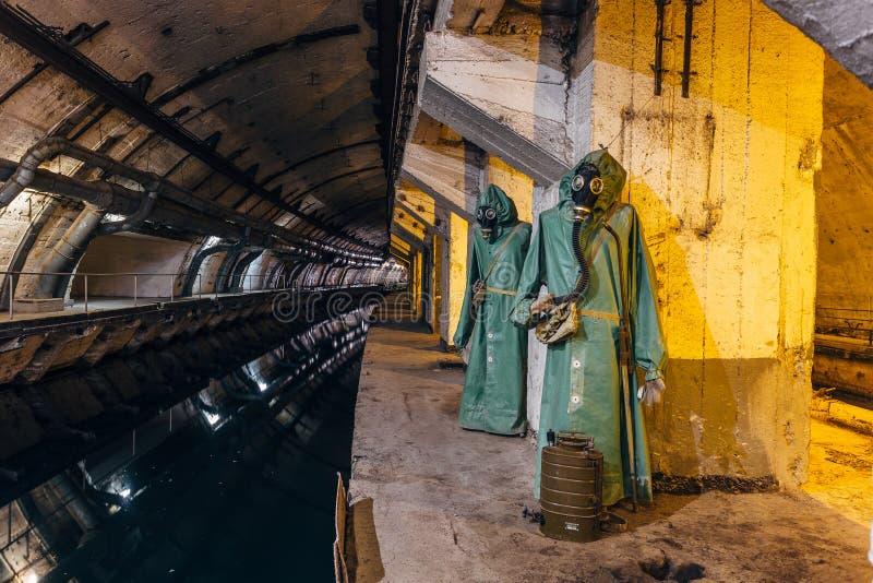 Подземный советский бункер холодной войны Подземная подводная лодка ремонтируя фабрику в Balaklava, Крыме стоковые изображения rf