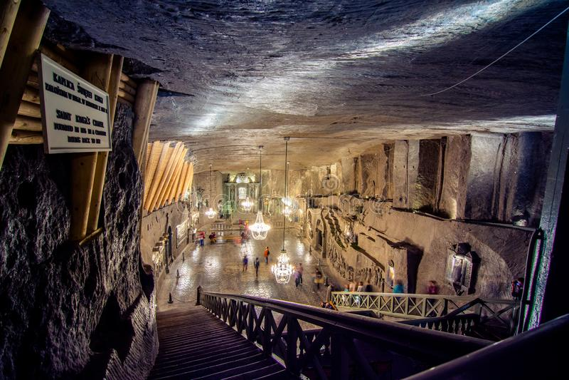 Подземный тринадцатый век солевого рудника Wieliczka, один из солевых рудников ` s мира самых старых, около Кракова, Польша стоковое фото rf