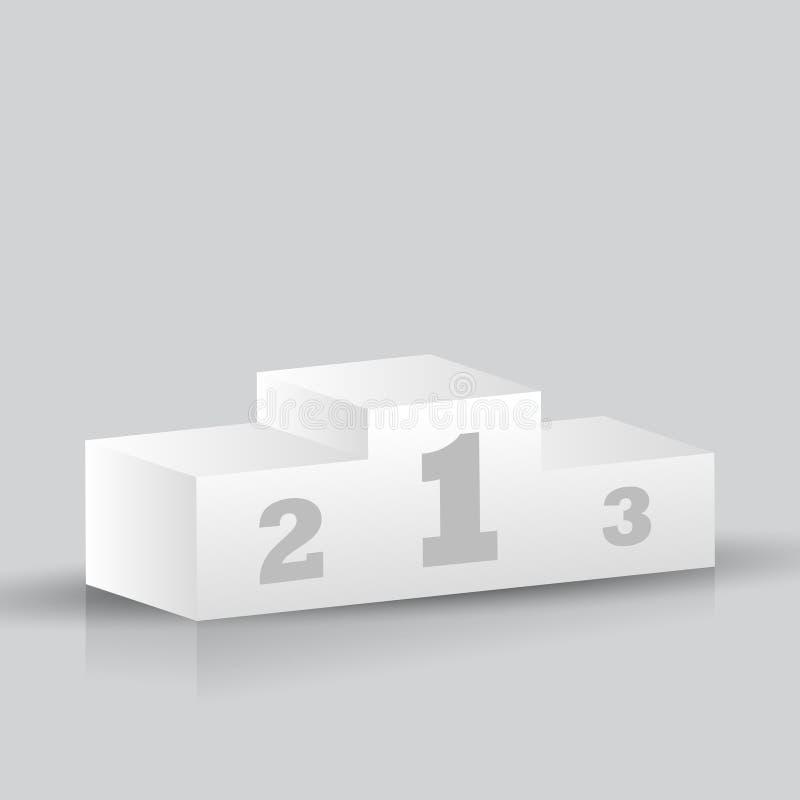 подиум победителей 3D изолированный на серой предпосылке стоковое изображение