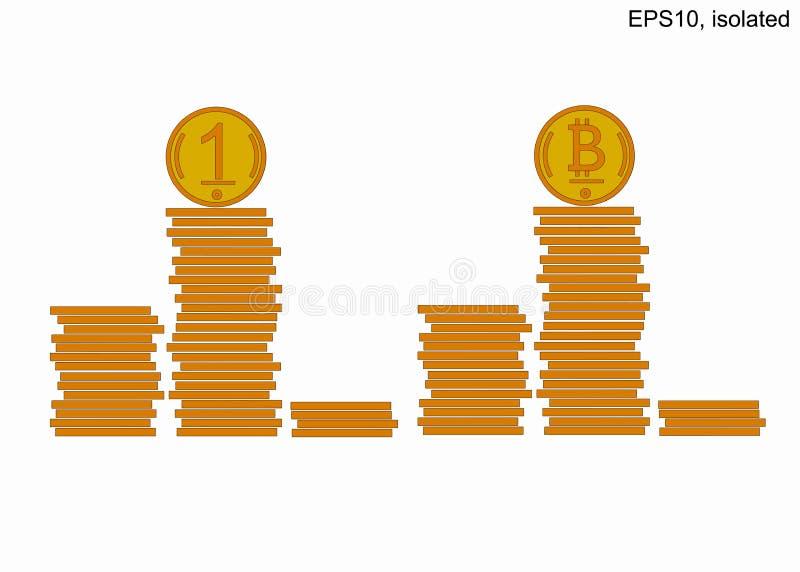 Подиум стогов монеток Много золотых монет в башнях Bitcoin иллюстрация вектора