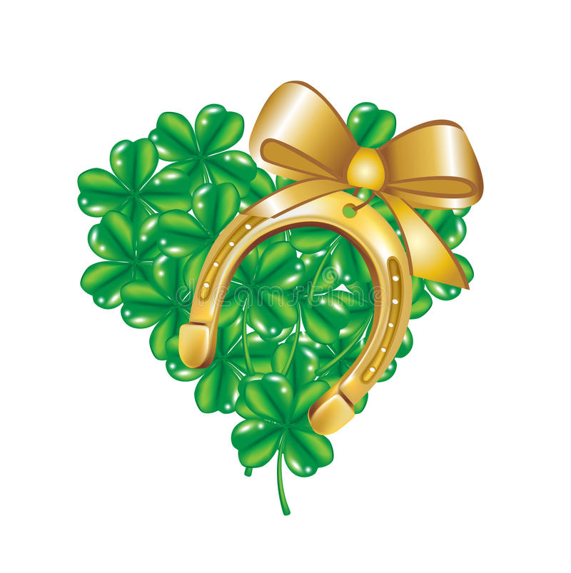 Подкова и сердце сделанные клевера 4 листьев иллюстрация вектора