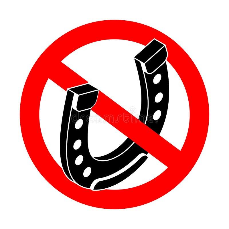 Подкова стопа Символ удачи запрета Красный дорожный знак запрета иллюстрация вектора