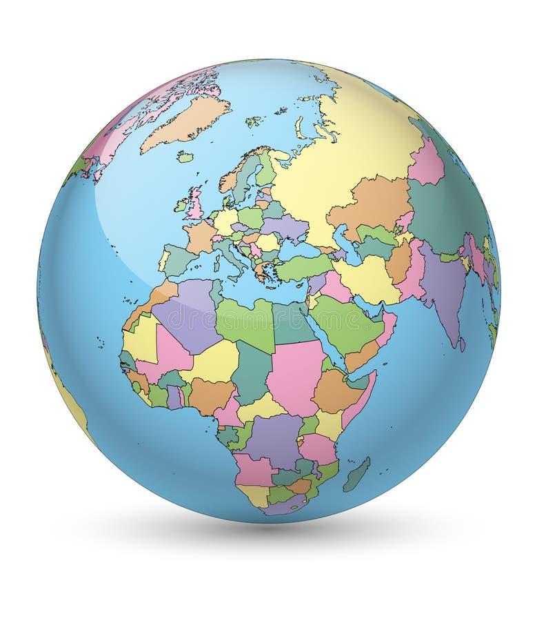 подкрашиванный глобус иллюстрация штока