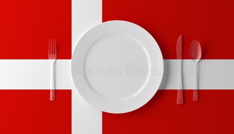 Подлинная кухня Дании Плита с датскими флагом и столовым прибором иллюстрация 3d бесплатная иллюстрация