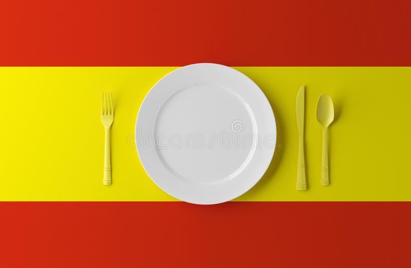 Подлинная кухня Испании Плита с флагом и столовым прибором испанского языка иллюстрация 3d иллюстрация вектора